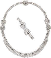 Diamond, Gold Jewelry Suite  The suite includes: a necklace featuring marquise-cut diamonds weighing a total of approxim...