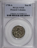 Colonials, 1758-A SOU M French Colonies Sou Marque VF35 PCGS....