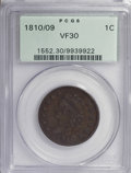 Large Cents, 1810/09 1C VF30 PCGS....