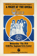 Music Memorabilia:Posters, Queen A Night At The Opera Saginaw Civic Center ConcertPoster (WHNN, 1976)....