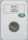 Proof Buffalo Nickels, 1937 5C PR65 NGC. CAC....