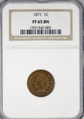 Proof Indian Cents, 1871 1C PR65 Brown NGC....