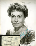 Movie/TV Memorabilia:Autographs and Signed Items, Thelma Ritter Signed Photo....