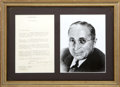 Movie/TV Memorabilia:Autographs and Signed Items, Louis B. Mayer Signed Letter with Photo (1943)....