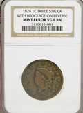 Errors, 1826 Large Cent 1C --Triple Struck with Brockage on Reverse--VG8NGC....