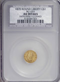 California Fractional Gold, 1870 $1 Liberty Round 1 Dollar, BG-1203, Low R.5--ImproperlyCleaned--NCS. AU Details....