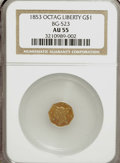 California Fractional Gold, 1853 $1 Liberty Octagonal 1 Dollar, BG-523, R.5, AU55 NGC....