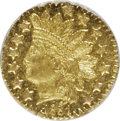 California Fractional Gold: , 1881 25C Indian Round 25 Cents, BG-887, R.3, MS65 NGC. NGC Census:(7/0). PCGS Population (26/3). (#10748)...