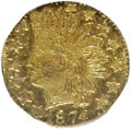 California Fractional Gold: , 1874 25C Indian Octagonal 25 Cents, BG-795, R.3, MS64 ProoflikeNGC. NGC Census: (5/6). (#710622)...