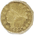 California Fractional Gold: , 1880 25C Indian Octagonal 25 Cents, BG-799X, R.3, MS64 ProoflikeNGC. NGC Census: (6/5). (#710650)...