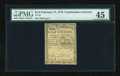 Colonial Notes:Continental Congress Issues, Continental Currency February 17, 1776 $1/2 PMG Choice ExtremelyFine 45....