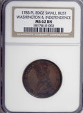 Colonials, 1783 1C Washington & Independence Cent, Small Military Bust,Plain Edge MS62 Brown NGC....