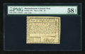 Colonial Notes:Massachusetts, Massachusetts May 5, 1780 $2 PMG Choice About Unc 58 EPQ....