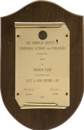 Music Memorabilia:Awards, Graham Nash's ASCAP Award....