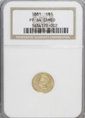 Proof Gold Dollars: , 1881 G$1 PR64 Cameo NGC. NGC Census: (6/5). PCGS Population (1/0). (#87631)...