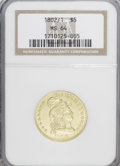 Early Half Eagles: , 1802/1 $5 MS64 NGC. NGC Census: (15/1). PCGS Population (17/2).Mintage: 53,176. Numismedia Wsl. Price for NGC/PCGS coin in...