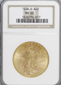 Saint-Gaudens Double Eagles: , 1926-D $20 MS62 NGC. NGC Census: (52/28). PCGS Population (55/79).Mintage: 481,000. Numismedia Wsl. Price for NGC/PCGS coi...