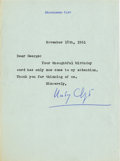 Movie/TV Memorabilia:Autographs and Signed Items, Montgomery Clift Signed Letter (1961)....