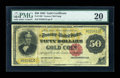 Large Size:Gold Certificates, Fr. 1196 $50 1882 Gold Certificate PMG Very Fine 20....