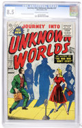 Golden Age (1938-1955):Science Fiction, Journey Into Unknown Worlds #37 (Atlas, 1955) CGC VF+ 8.5 Cream tooff-white pages....