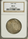 Bust Half Dollars, 1834 50C Large Date, Large Letters MS61 NGC....