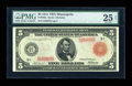 Fr. 840a $5 1914 Red Seal Federal Reserve Note PMG Very Fine 25 Net