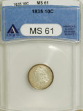 Bust Dimes, 1835 10C MS61 ANACS....