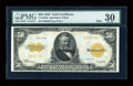 Large Size:Gold Certificates, Fr. 1200a $50 1922 Mule Gold Certificate PMG Very Fine 30....