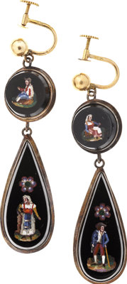 "[Mary Todd Lincoln] Pair of Pendant Earrings Owned by Mary Todd Lincoln. These ""earbobs"" appear to be made of..."
