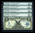 Large Size:Group Lots, Four $1 Silvers.. ... (Total: 4 notes)