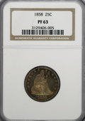 Proof Seated Quarters, 1858 25C PR63 NGC....
