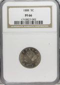 Proof Liberty Nickels: , 1888 5C PR66 NGC. A thin layer of pastel sky-blue and beige coloration hugs each side. The design elements are sharply impr...