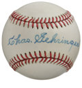 Autographs:Baseballs, Chas. Gehringer Single Signed Baseball. The unassuming workhorsefor the Tigers won AL MVP honors in 1937, helping the team...