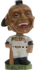 Baseball Collectibles:Others, 1963-65 Milwaukee Braves Green Base Bobbing Head Doll. Vintagemascot Indian with Mohawk. Very slight toning. Four noticea...