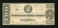 Confederate Notes:1864 Issues, T70 $2 1864. A couple of repairs are noticed on the back. Fine....