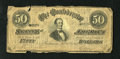 Confederate Notes:1864 Issues, T66 $50 1864. Edge wear is noticed on this $50. Good-Very Good....