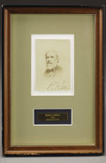 """Autographs:Military Figures, Rare Wartime Signed CDV of Robert E. Lee, with """"R E Lee"""" inlower field. Matted and framed to 6.75"""" x 10"""". This rarec..."""