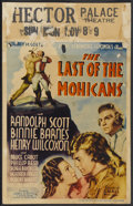 "Movie Posters:Adventure, The Last of the Mohicans (United Artists, 1936). Window Card (14"" X22""). Adventure...."