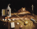 Fine Art - Painting, European:Antique  (Pre 1900), Circle of SEBASTIAN STOSKOPFF (Alsatian, 1597-1657). KitchenStill Life with Fish and Cat, circa 1650. Oil on canvas. 32...