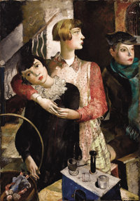 ADRIEN HOLY (Swiss, 1898-1978) Governess with Two Children, circa 1940 Oil on canvas 46 x 31-3/4