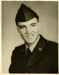 Music Memorabilia:Autographs and Signed Items, Elvis Presley in Uniform Photo Portrait....