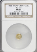California Fractional Gold: , 1855 25C Liberty Round 25 Cents, BG-226, R.5, MS61 NGC. NGC Census:(1/0). PCGS Population (4/24). (#10411)...