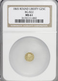 California Fractional Gold: , 1865 25C Liberty Round 25 Cents, BG-822, R.4, MS61 NGC. NGC Census:(2/7). PCGS Population (11/35). (#10683)...