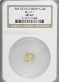 California Fractional Gold: , 1868 25C Liberty Octagonal 25 Cents, BG-711, R.4, MS65 NGC. NGCCensus: (1/5). PCGS Population (21/5). (#10538)...