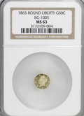 California Fractional Gold: , 1865 50C Liberty Round 50 Cents, BG-1005, Low R.5, MS63 NGC. NGCCensus: (1/0). PCGS Population (7/2). (#10834)...