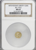 California Fractional Gold: , 1870 50C Liberty Round 50 Cents, BG-1022, High R.6, MS62 NGC. NGCCensus: (1/0). PCGS Population (2/4). (#10851)...
