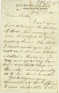 "[The Execution of the Conspirators] Canby Brainard Alrich Autograph Letter Signed ""C.B. Alrich"" on letterh"