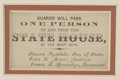 Miscellaneous:Ephemera, [Lincoln Funeral: Springfield] Funeral Pass on card stock, printedin varied typefaces, ...