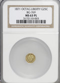 California Fractional Gold: , 1871 25C Liberty Octagonal 25 Cents, BG-769, R.5, MS63 ProoflikeNGC. (#710596)...