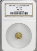 California Fractional Gold: , 1871 50C Liberty Octagonal 50 Cents, BG-924, R.3, AU58 NGC. NGCCensus: (4/33). PCGS Population (34/149). (#10782)...